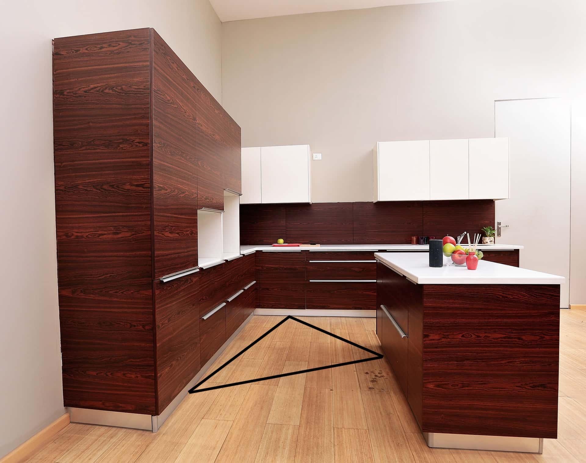 kitchen maroon laminated work triangle theory
