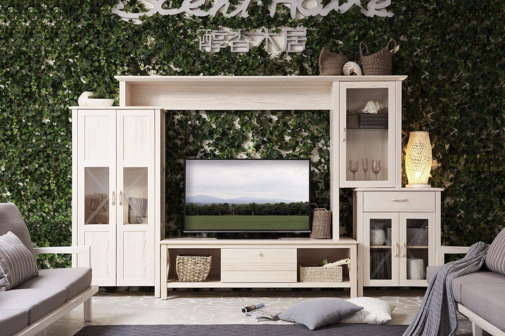 White-cabinet-grass-wall