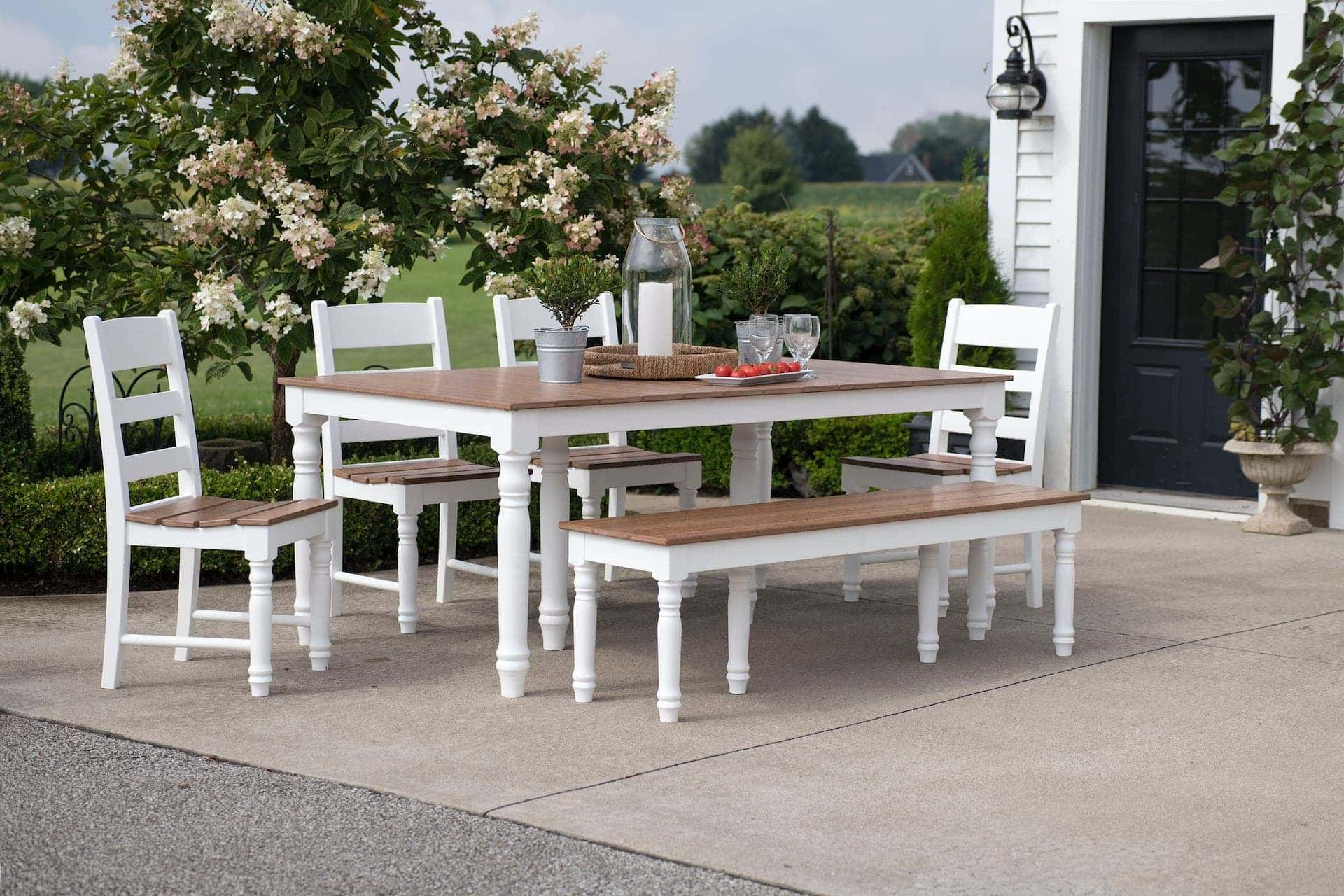 outdoor white dining table set