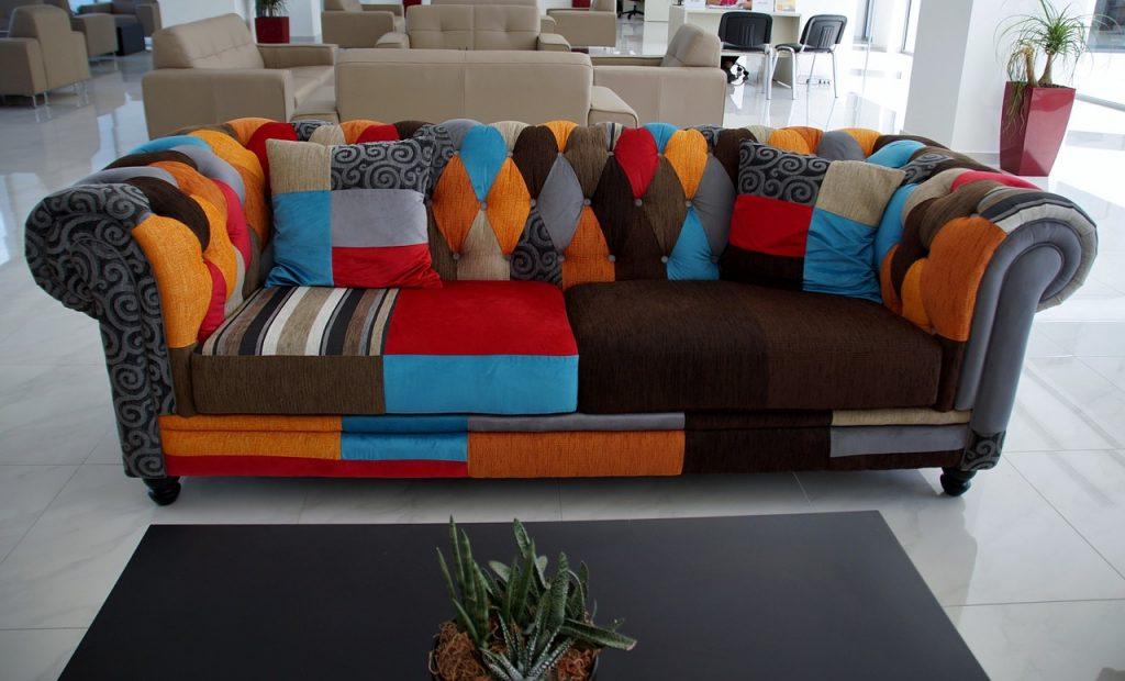 multi colored sofa