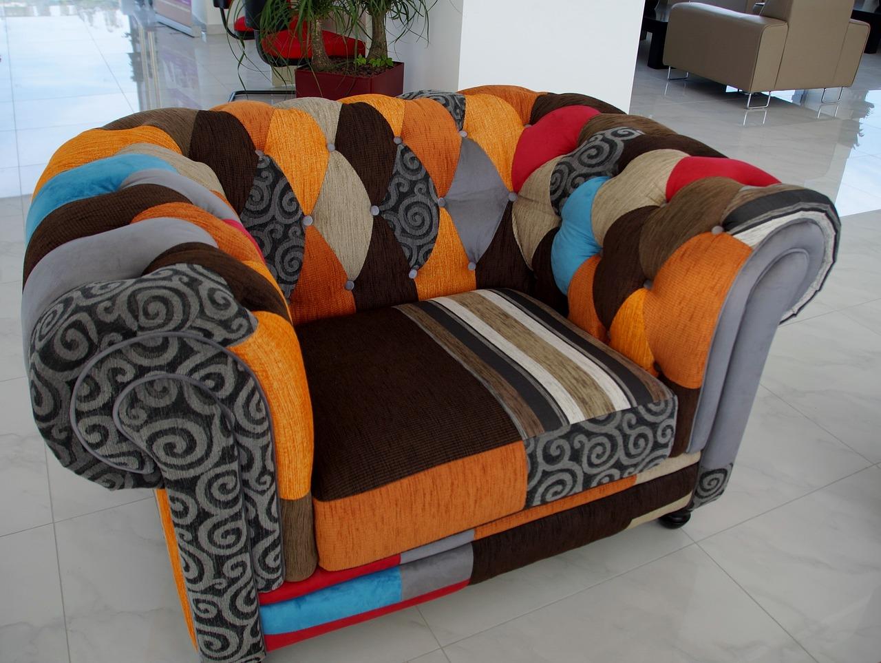 multi-colored single seat chair