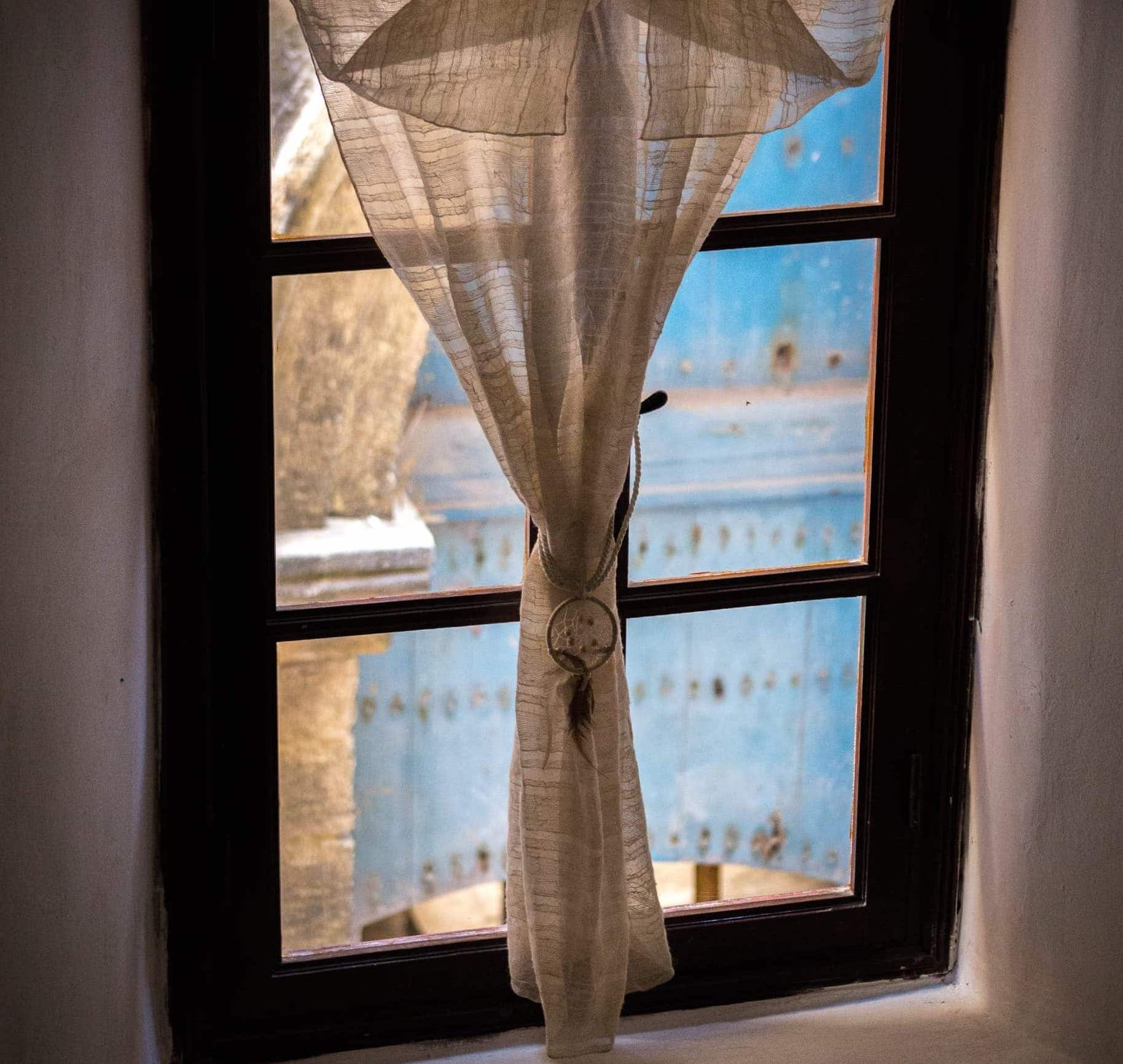 image of a tied curtain