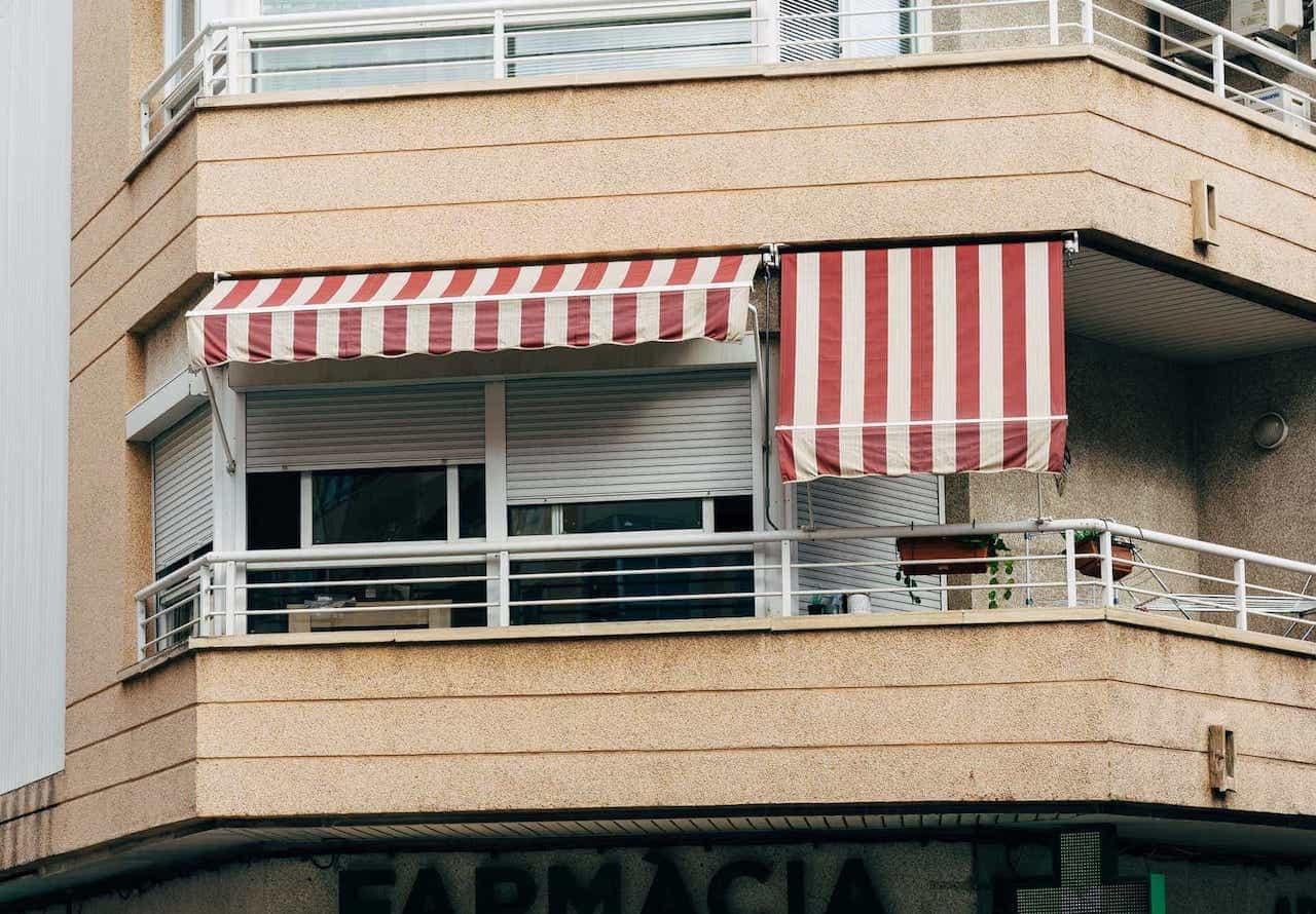 balcony awning adding to balcony decor