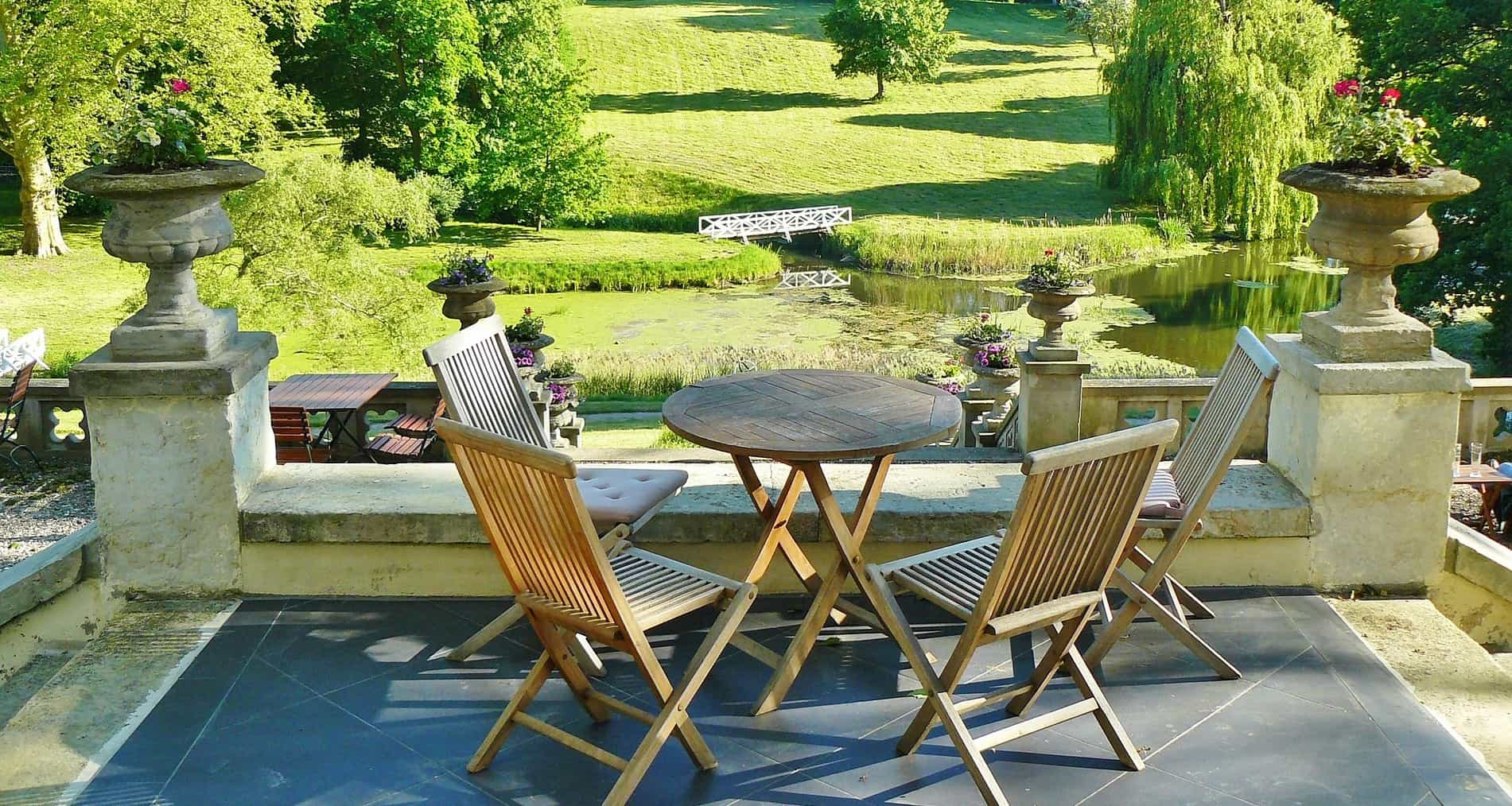 balcony furniture in garden with foldable chairs