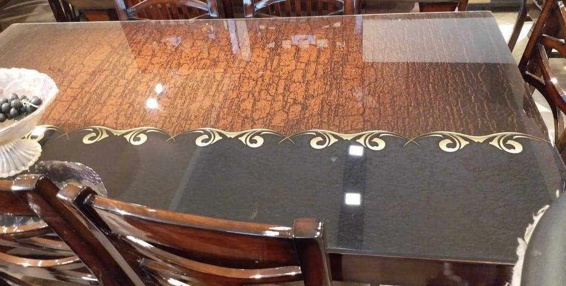 image of brown and black dining table