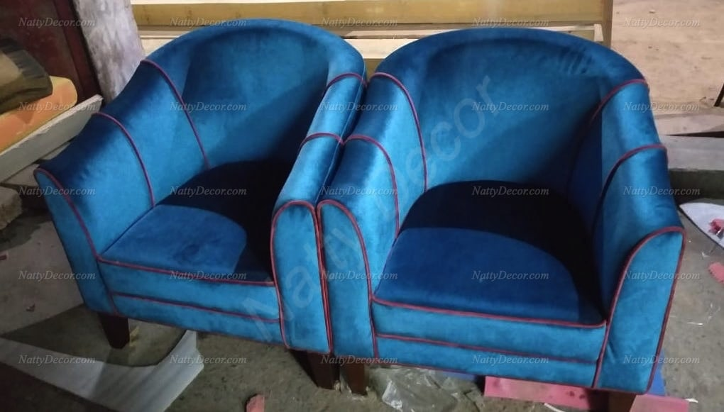 a sofa pair including contrast piping