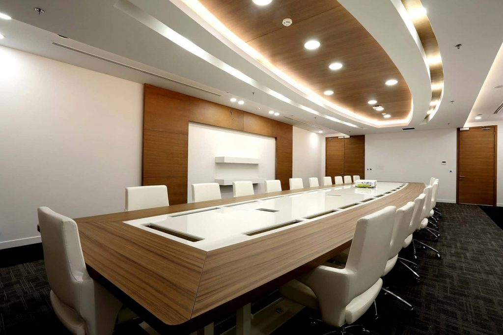meeting room with wooden ceiling and wall design